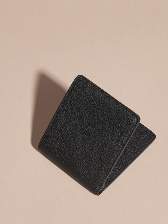 Black Leather Folding Wallet Black - cell image 2