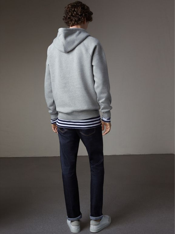 Embroidered Hooded Sweatshirt in Grey Melange - Men | Burberry United Kingdom - cell image 1