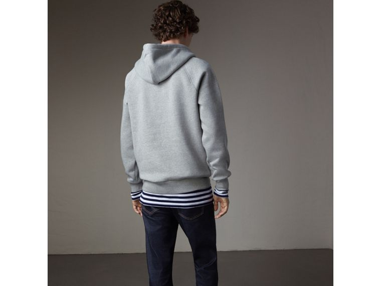 Embroidered Hooded Sweatshirt in Grey Melange - Men | Burberry Hong Kong - cell image 1