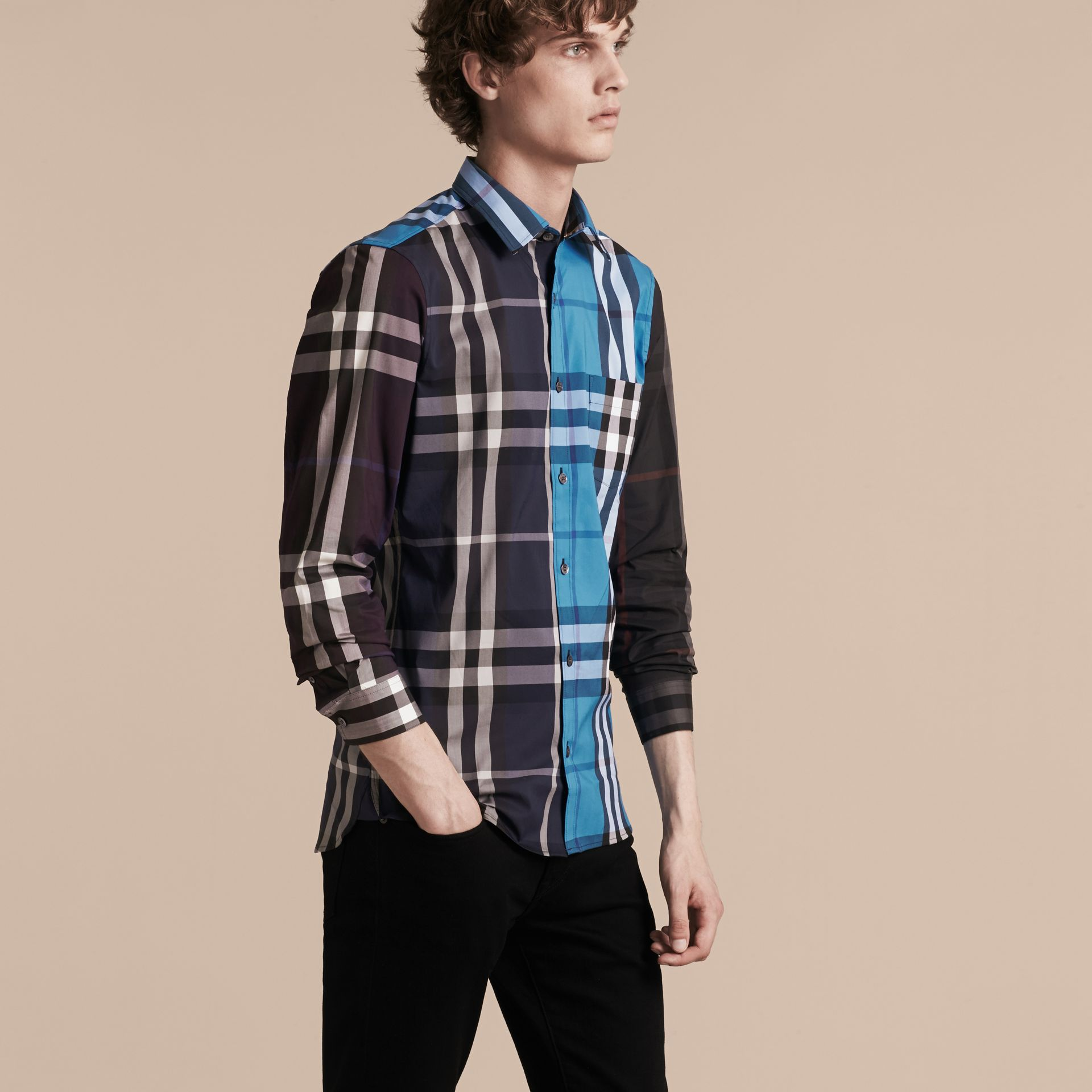Ink Colour Block Check Cotton Blend Shirt Ink - gallery image 6
