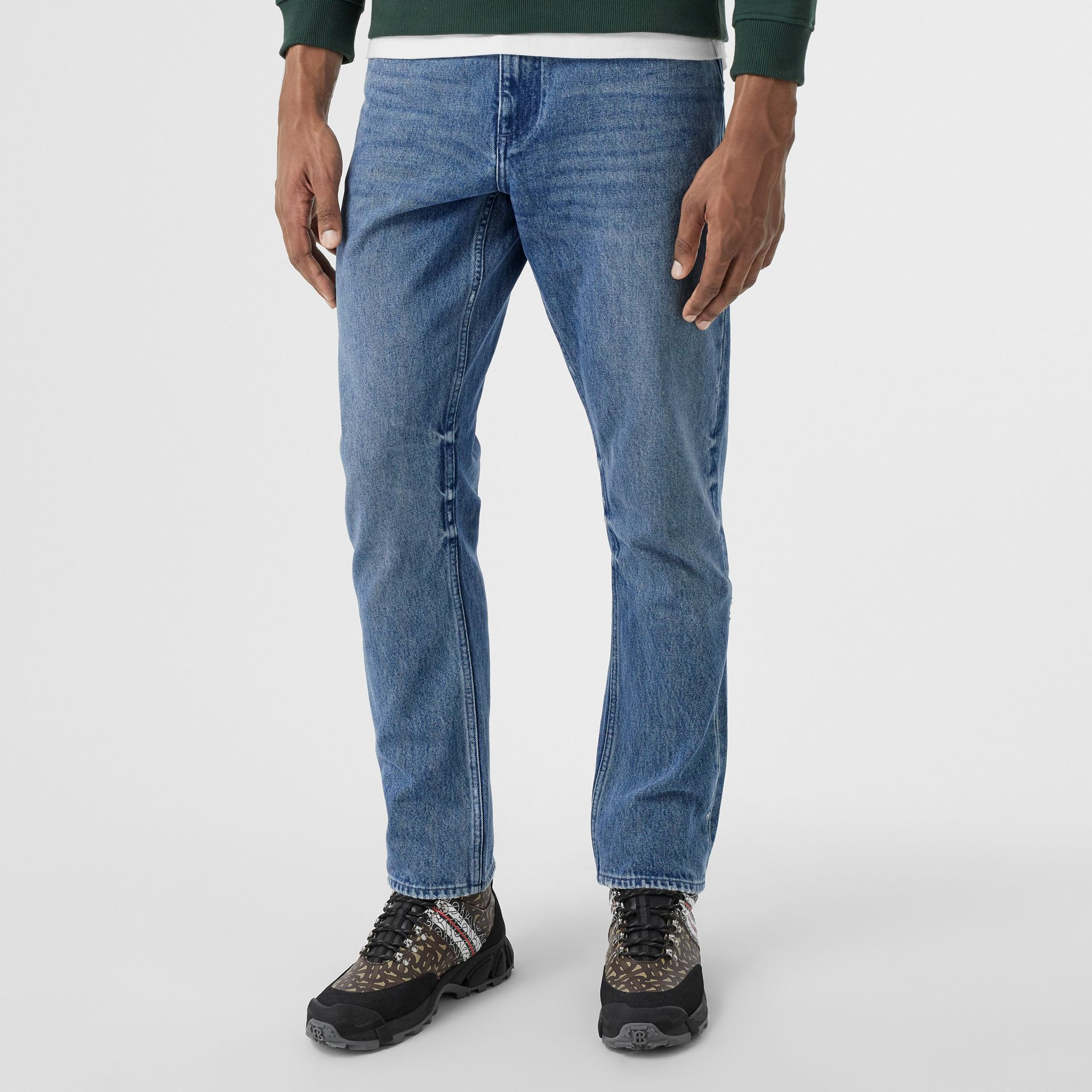 Straight Fit Distressed Denim Jeans in Light Indigo Blue - Men | Burberry - gallery image 4