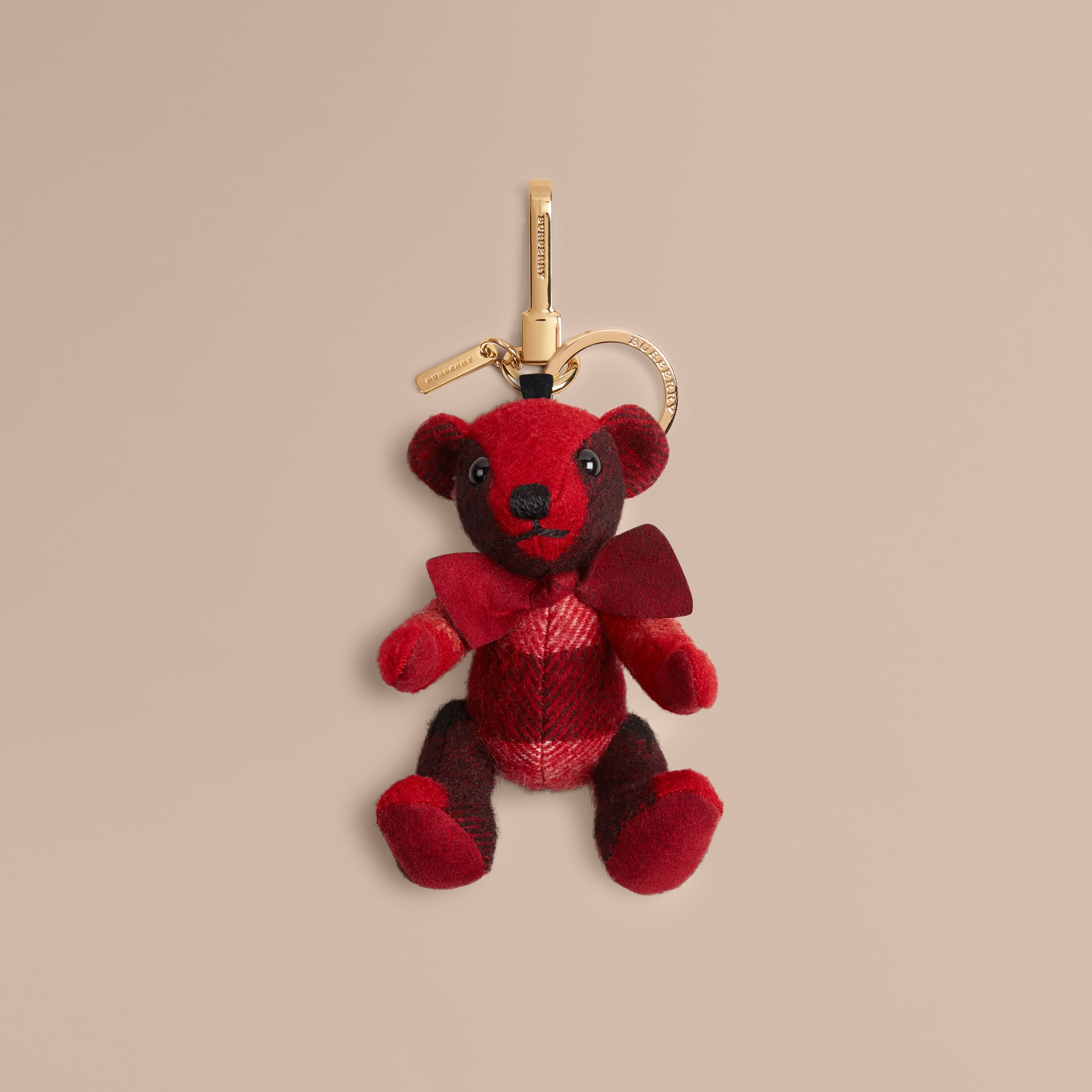 Thomas Bear Charm in Check Cashmere in Parade Red - gallery image 1