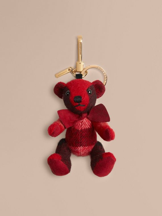Thomas Bear Charm in Check Cashmere Parade Red