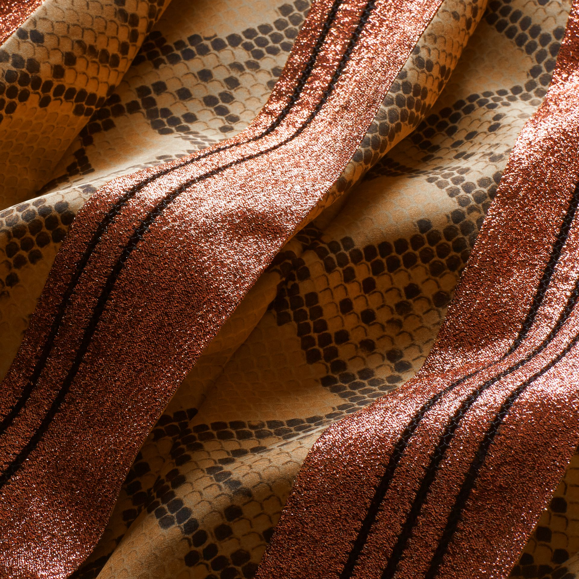Copper rose Long Lamé and Python Print Dress Copper Rose - gallery image 2