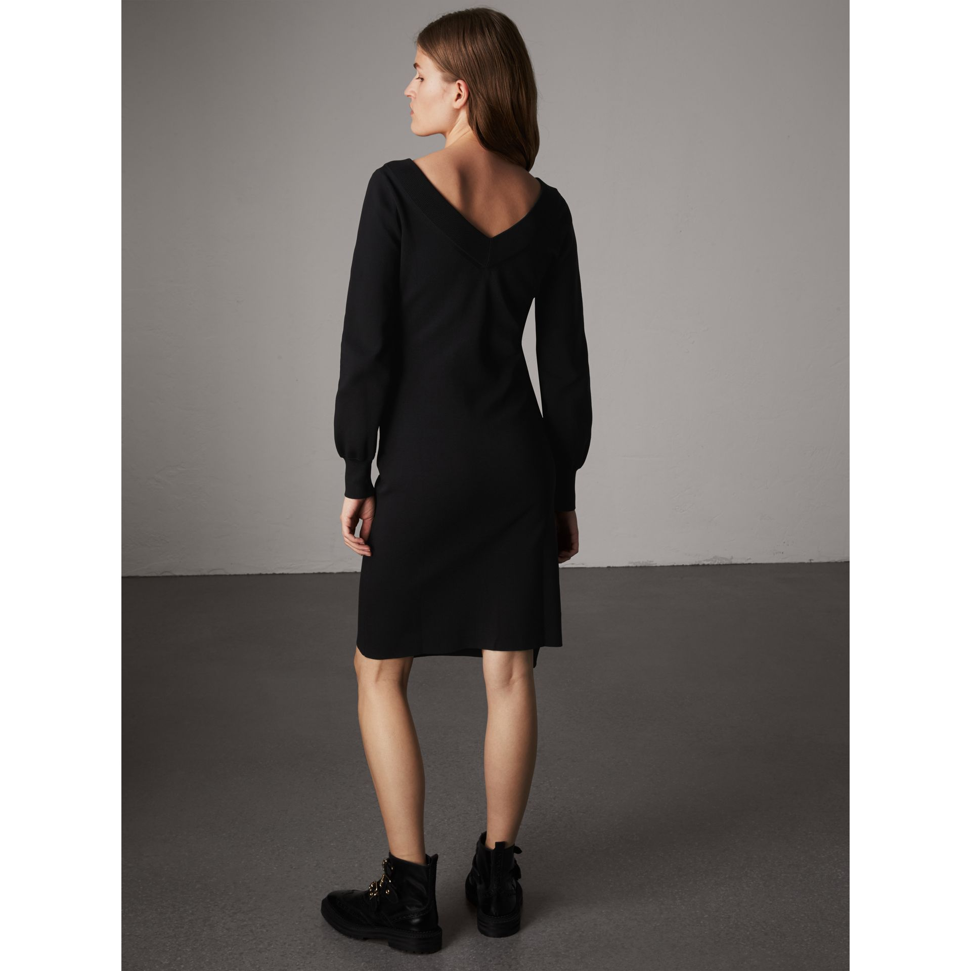 Asymmetric Knitted V-neck Dress in Black - Women | Burberry - gallery image 3