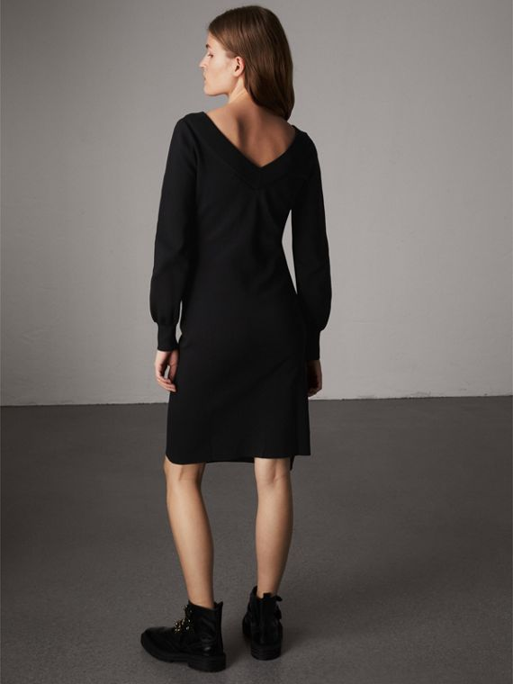 Asymmetric Knitted V-neck Dress in Black - Women | Burberry - cell image 2