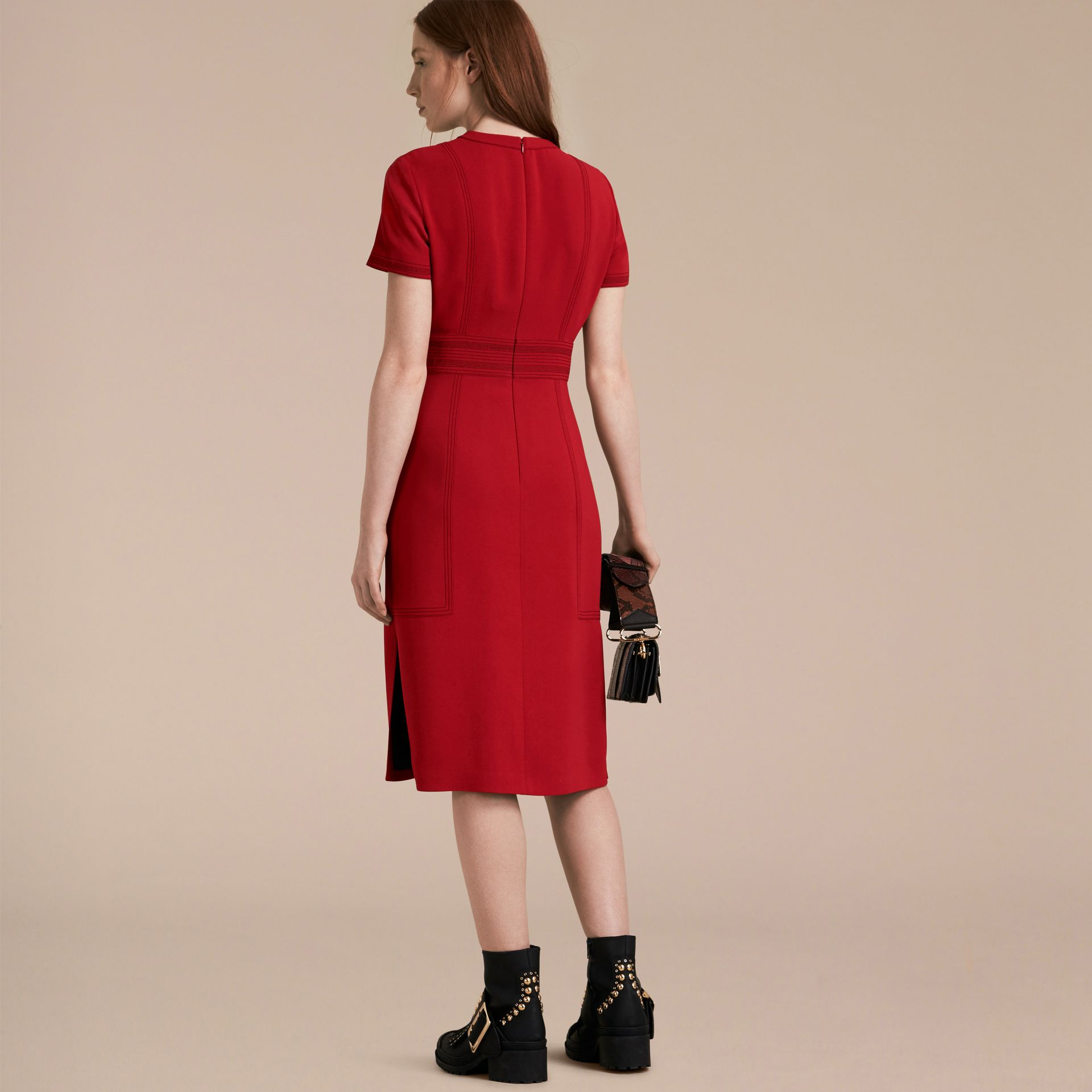 Parade red Short-sleeved Topstitch Detail Shift Dress - gallery image 3