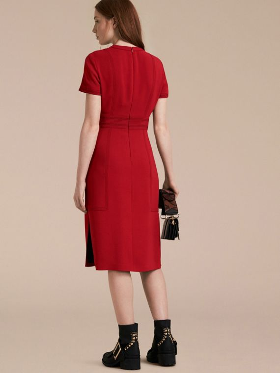 Parade red Short-sleeved Topstitch Detail Shift Dress - cell image 2