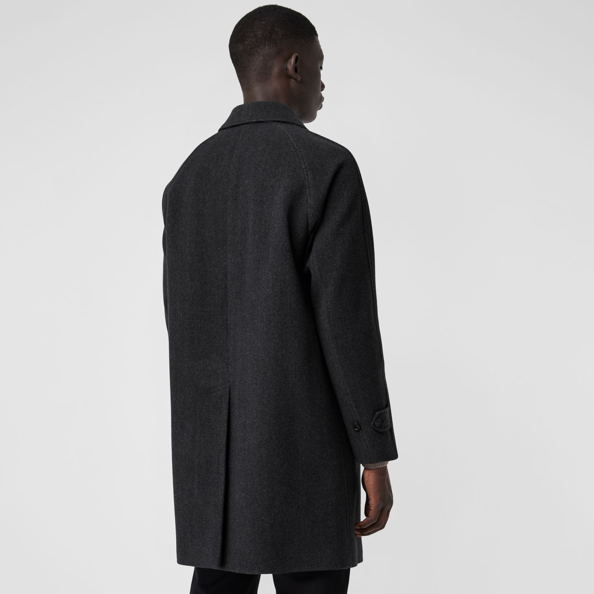 Wool Cashmere Blend Car Coat in Charcoal - Men | Burberry Hong Kong - gallery image 2