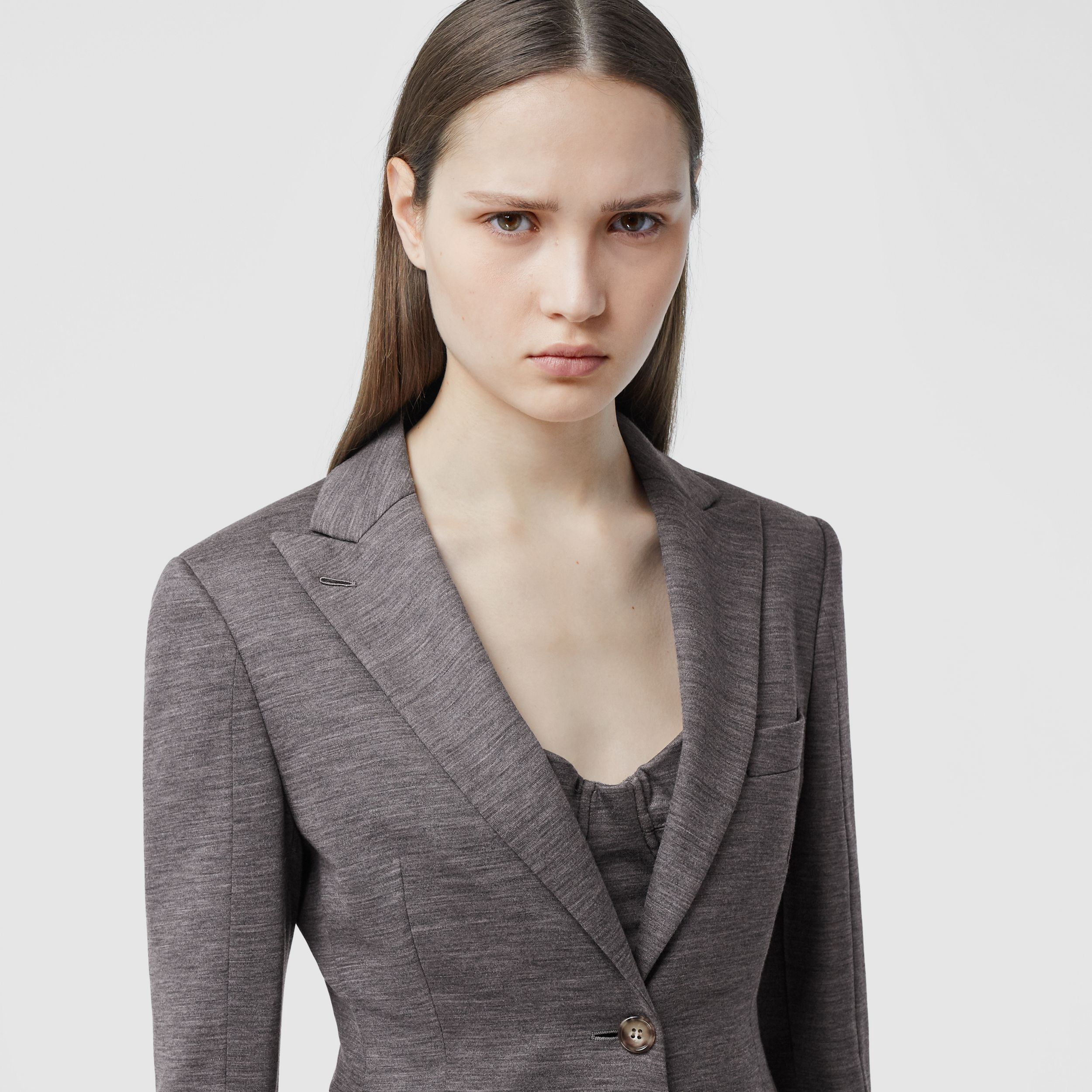 Silk Trim Technical Wool Blazer in Charcoal Grey - Women | Burberry Australia - 2