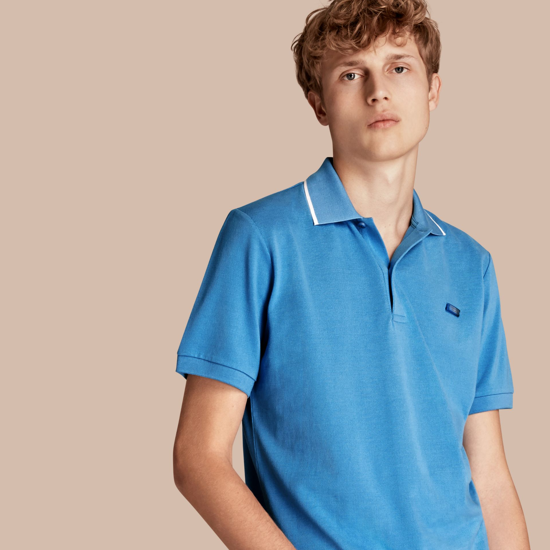 Tipped Collar Cotton Piqué Polo Shirt Chalk Blue - gallery image 1