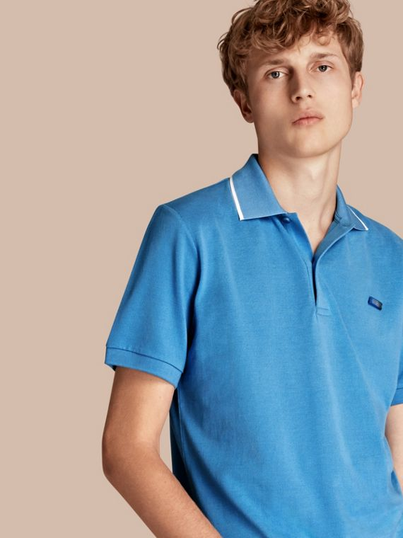 Tipped Collar Cotton Piqué Polo Shirt Chalk Blue