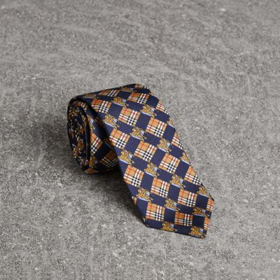 BURBERRY Modern Cut Check And Equestrian Knight Silk Tie, Navy