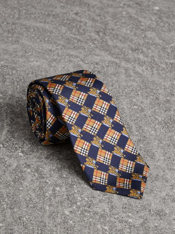 Modern Cut Check and Equestrian Knight Silk Tie in Navy