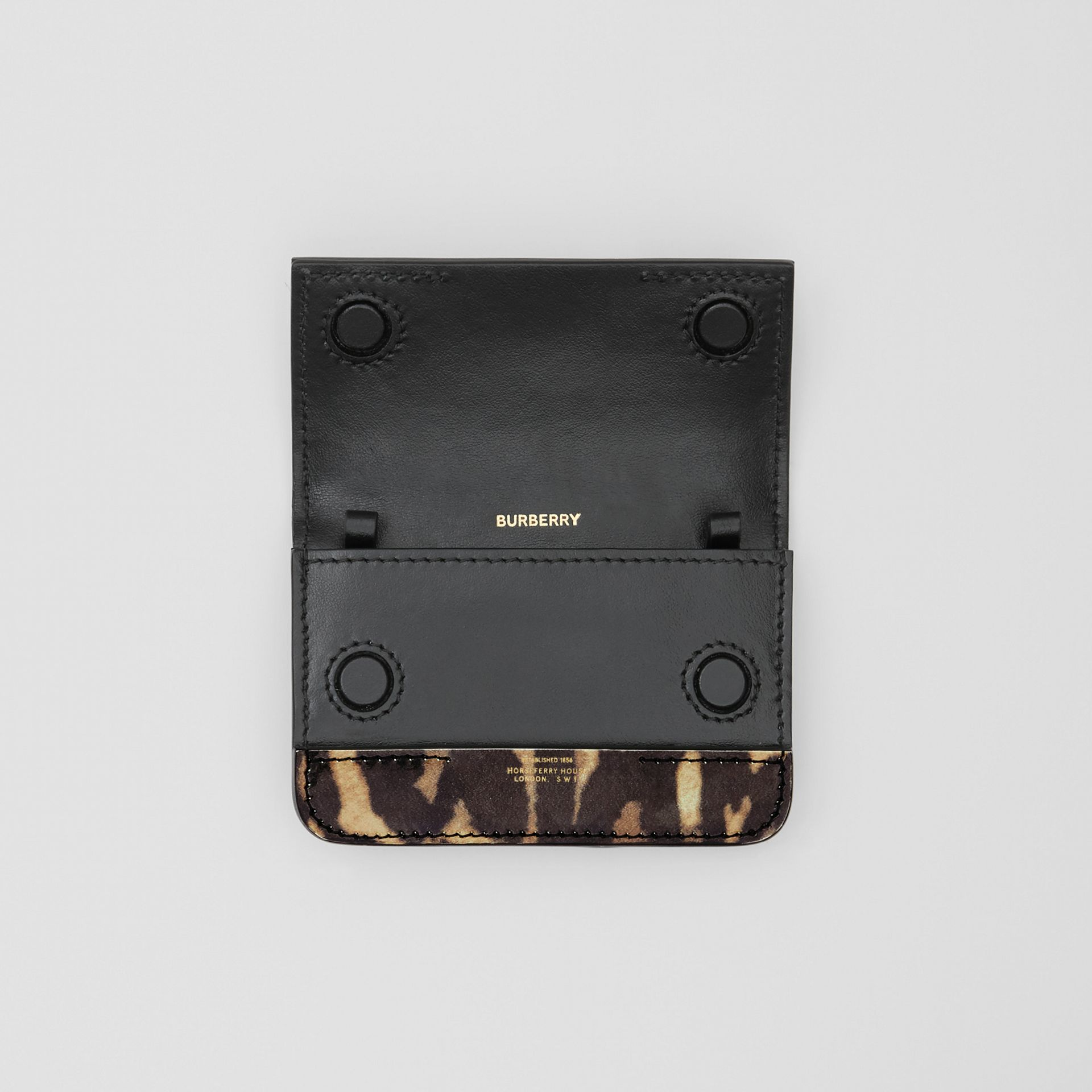 Leopard Print Leather Card Case with Chain Strap in Dark Mustard - Women | Burberry United States - gallery image 4