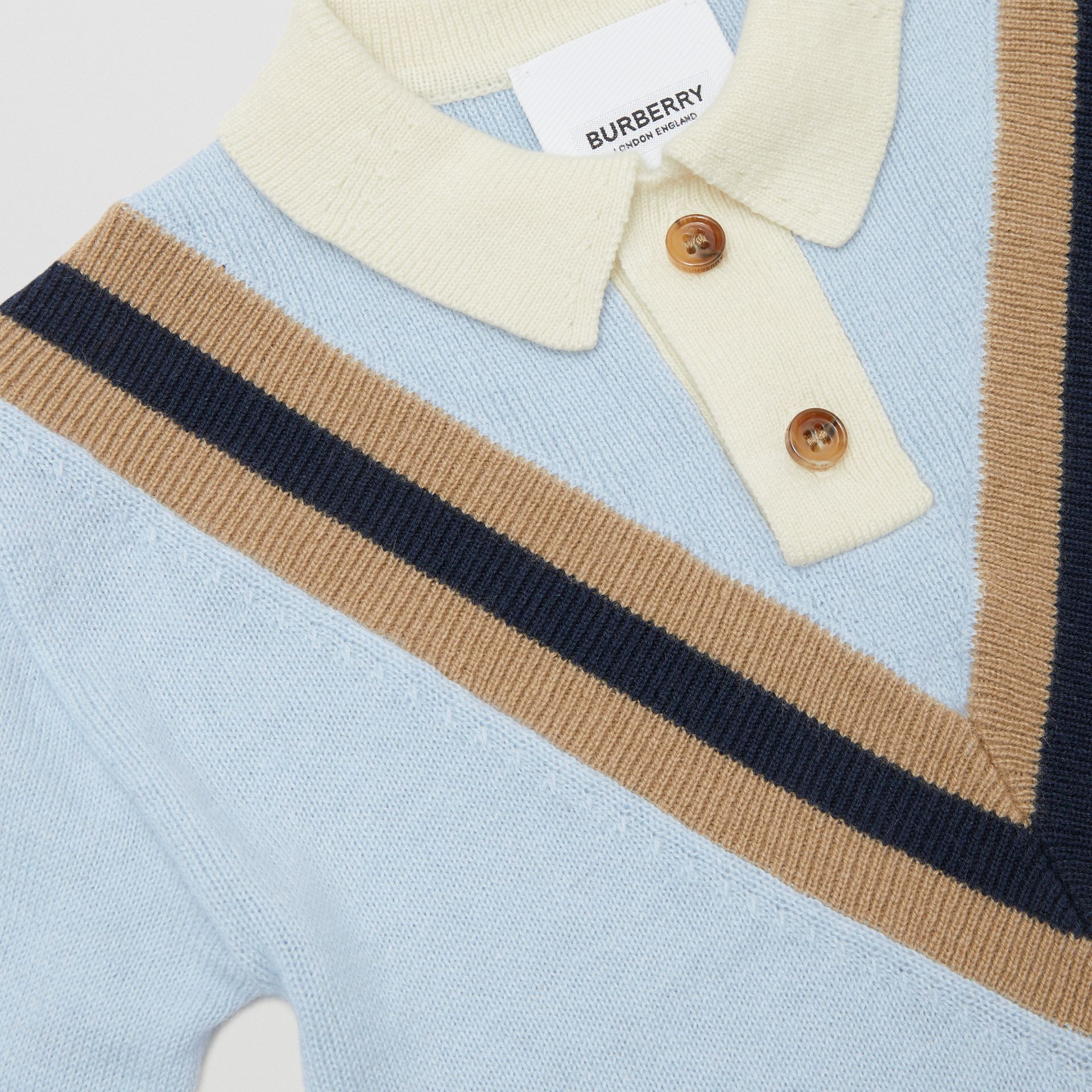 Long-sleeve Knit Cashmere Cotton Polo Shirt in Light Blue - Children | Burberry - gallery image 1