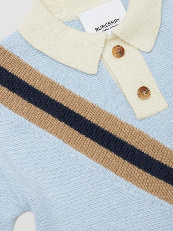 Long-sleeve Knit Cashmere Cotton Polo Shirt in Light Blue - Children | Burberry - cell image 1