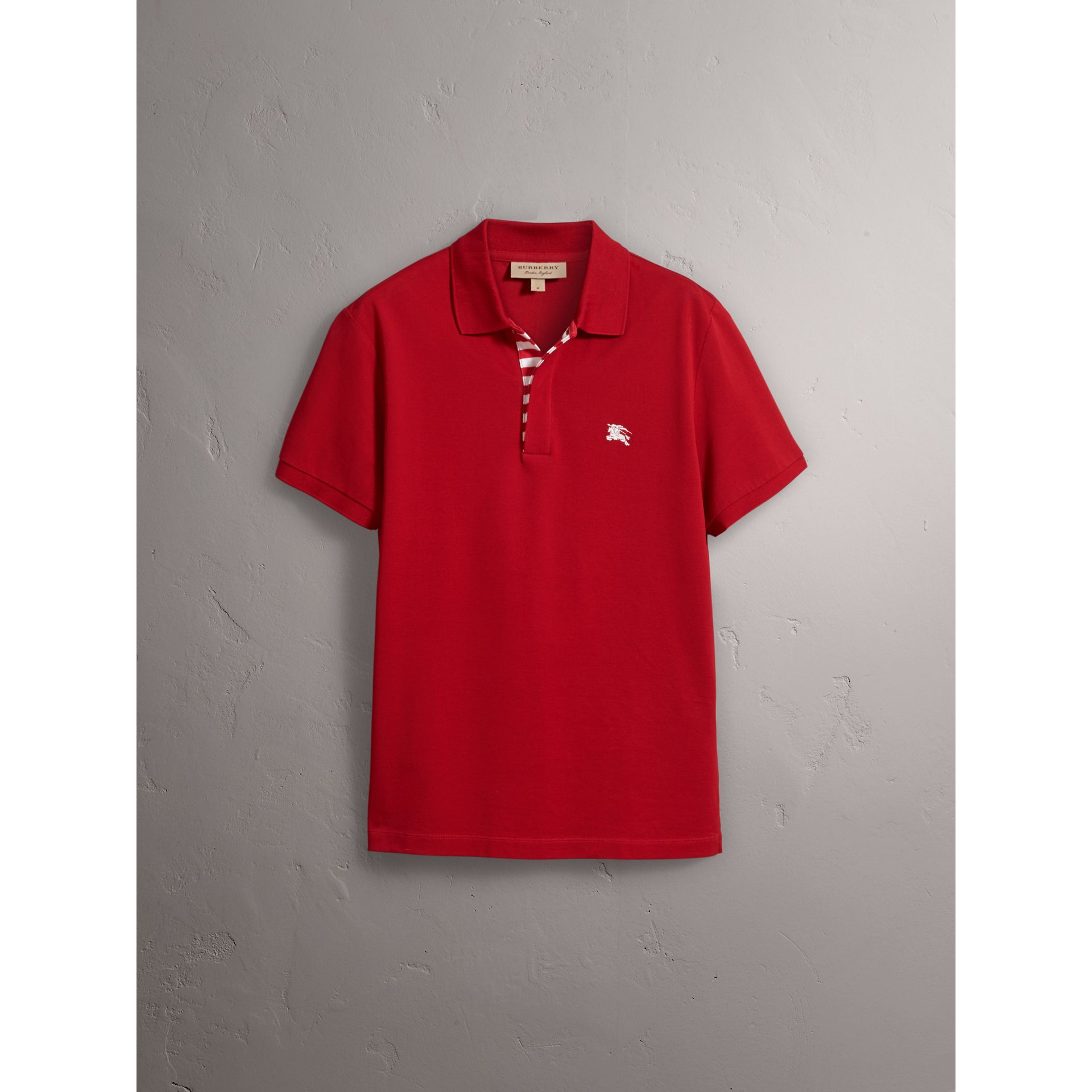 Striped Placket Cotton Piqué Polo Shirt in Military Red - gallery image 4
