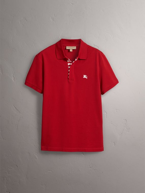 Striped Placket Cotton Piqué Polo Shirt in Military Red - cell image 3