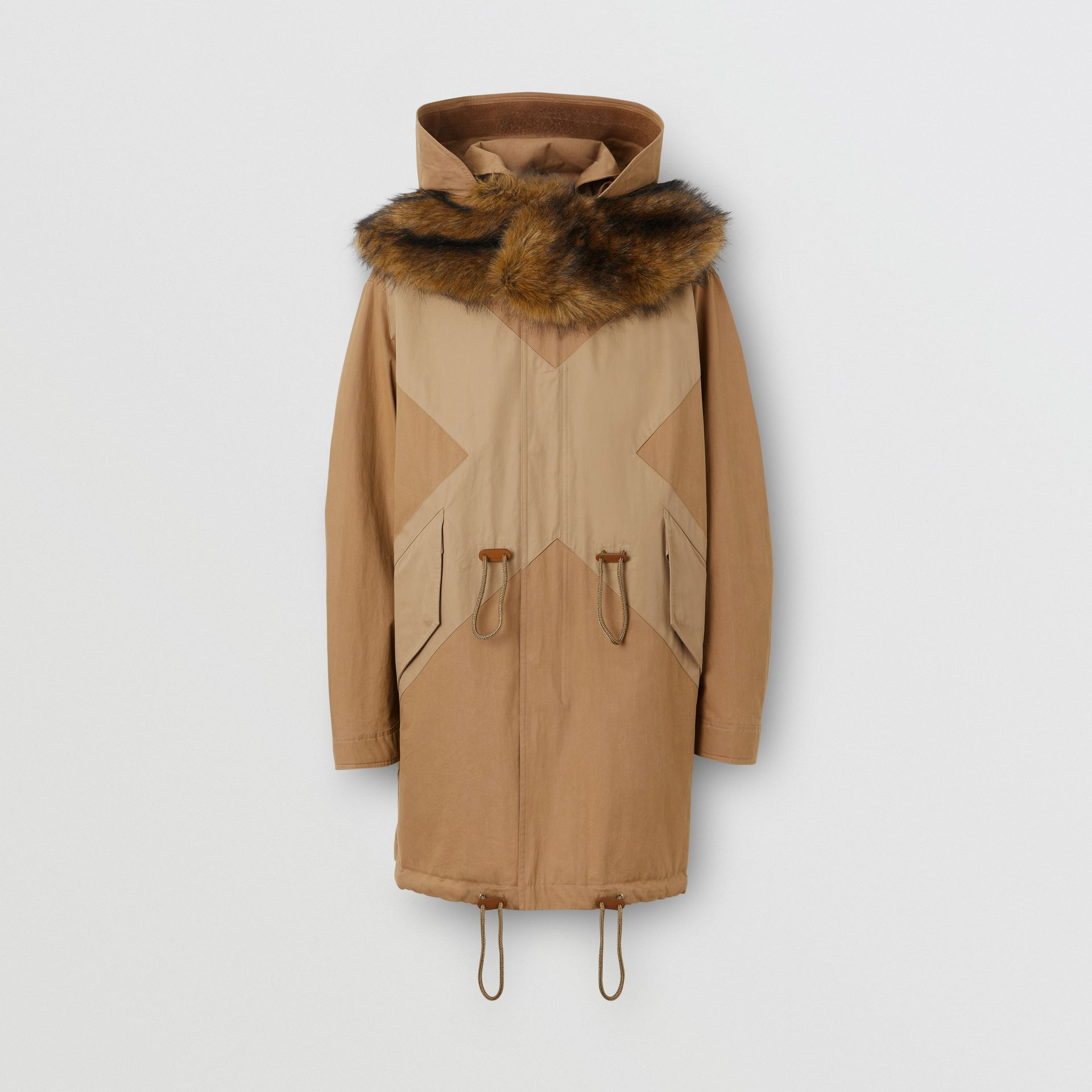 Detachable Hood Cotton Blend Parka in Warm Walnut - Men | Burberry - gallery image 3