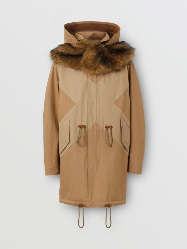 Detachable Hood Cotton Blend Parka in Warm Walnut - Men | Burberry - cell image 3