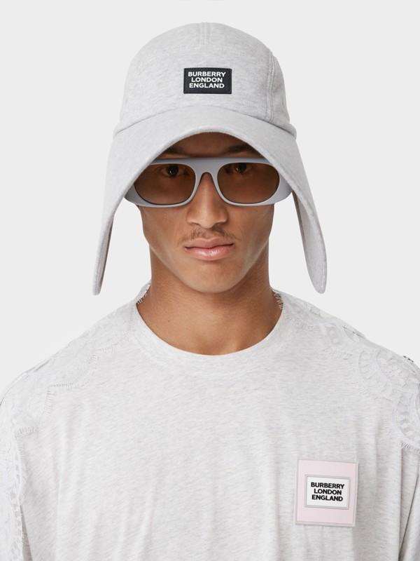 Logo Appliqué Cotton Jersey Bonnet Cap in Light Pebble Grey | Burberry - cell image 2