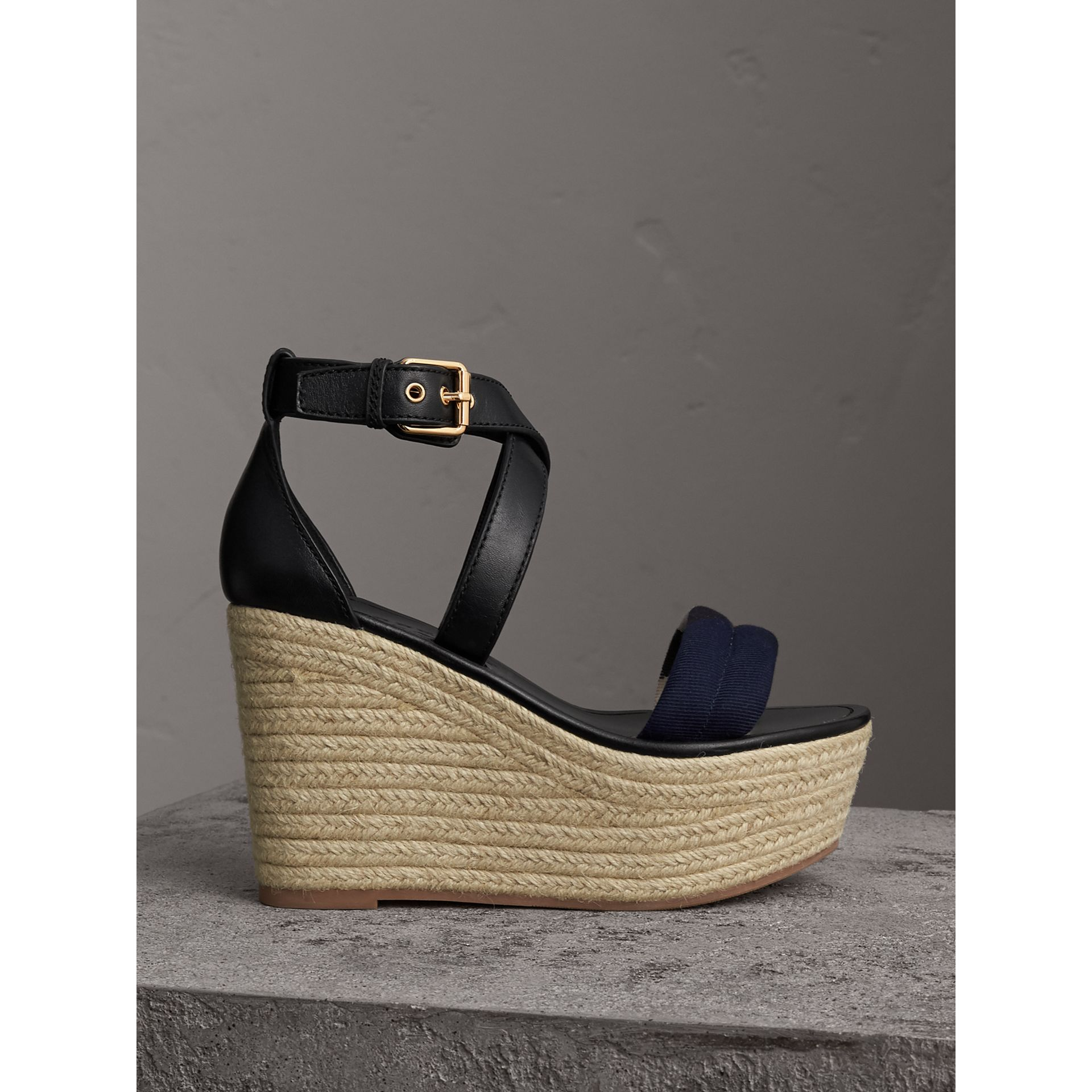 Leather and House Check Platform Espadrille Wedge Sandals in Navy - Women | Burberry - gallery image 1