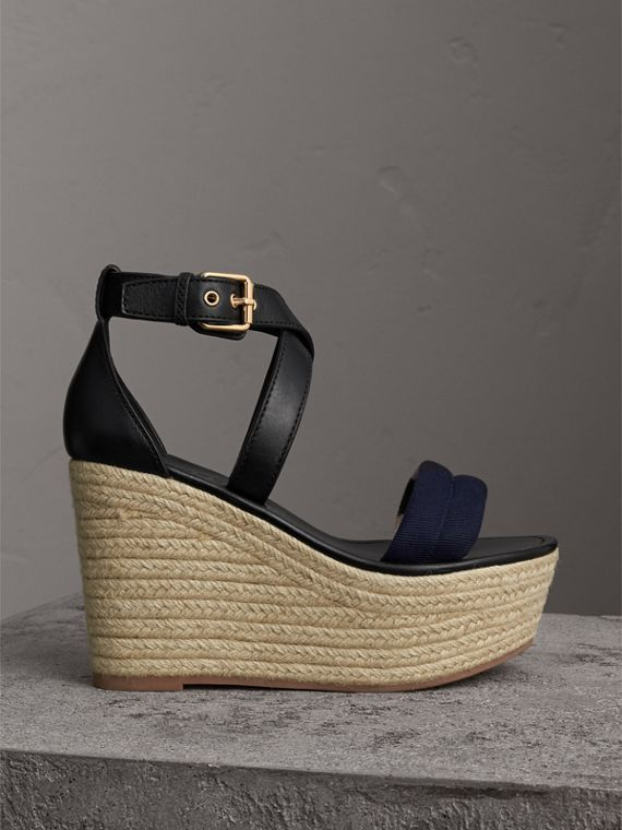 Leather and House Check Platform Espadrille Wedge Sandals in Navy