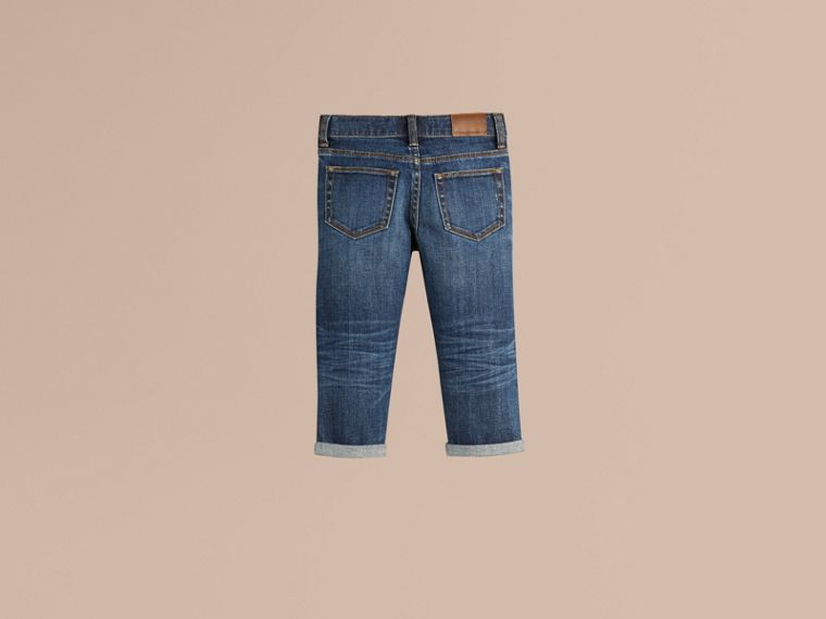 Indigo Relaxed Fit Jeans with Check Detail Cuffs - cell image 2