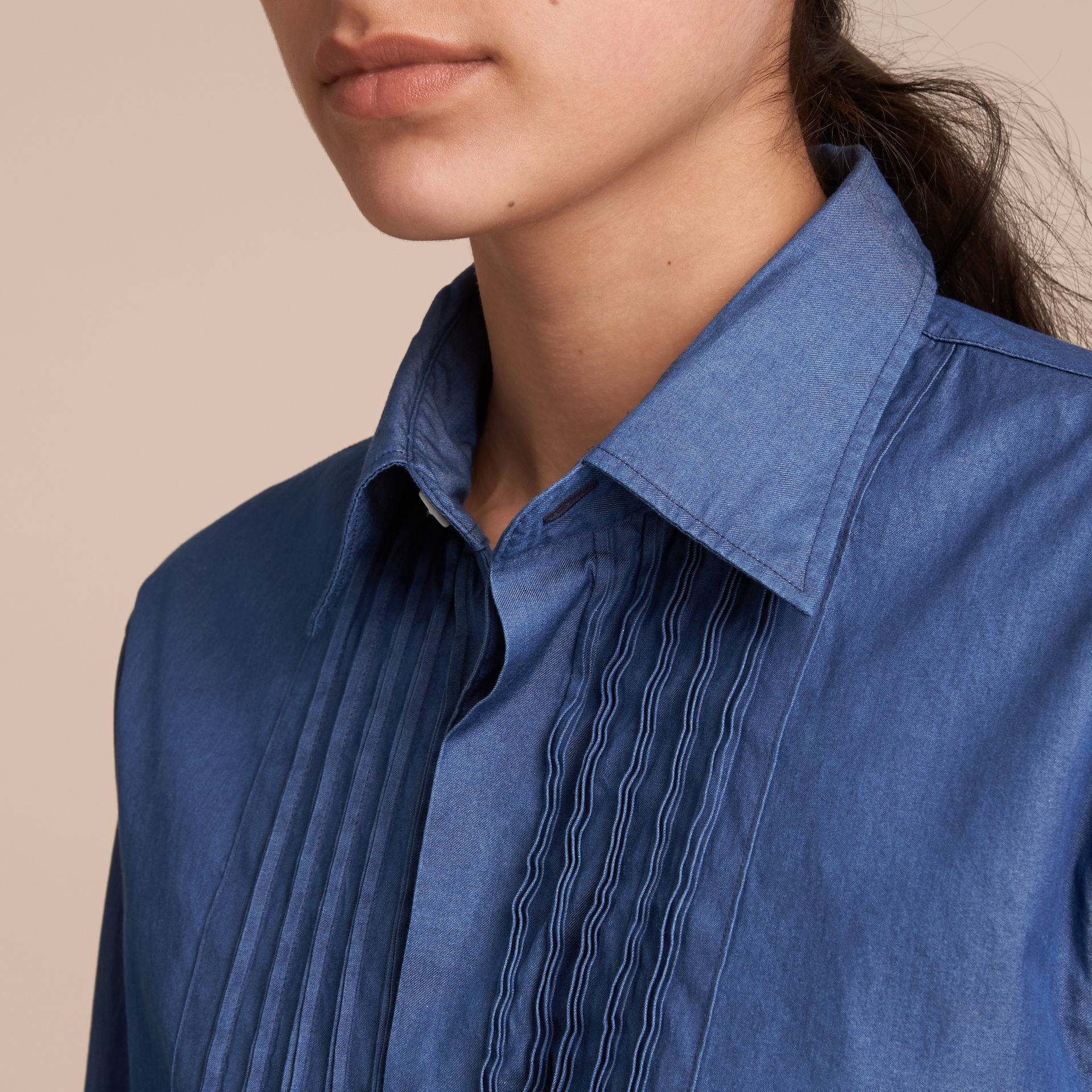 Unisex Double-cuff Pintuck Bib Cotton Shirt in Denim Blue - gallery image 5
