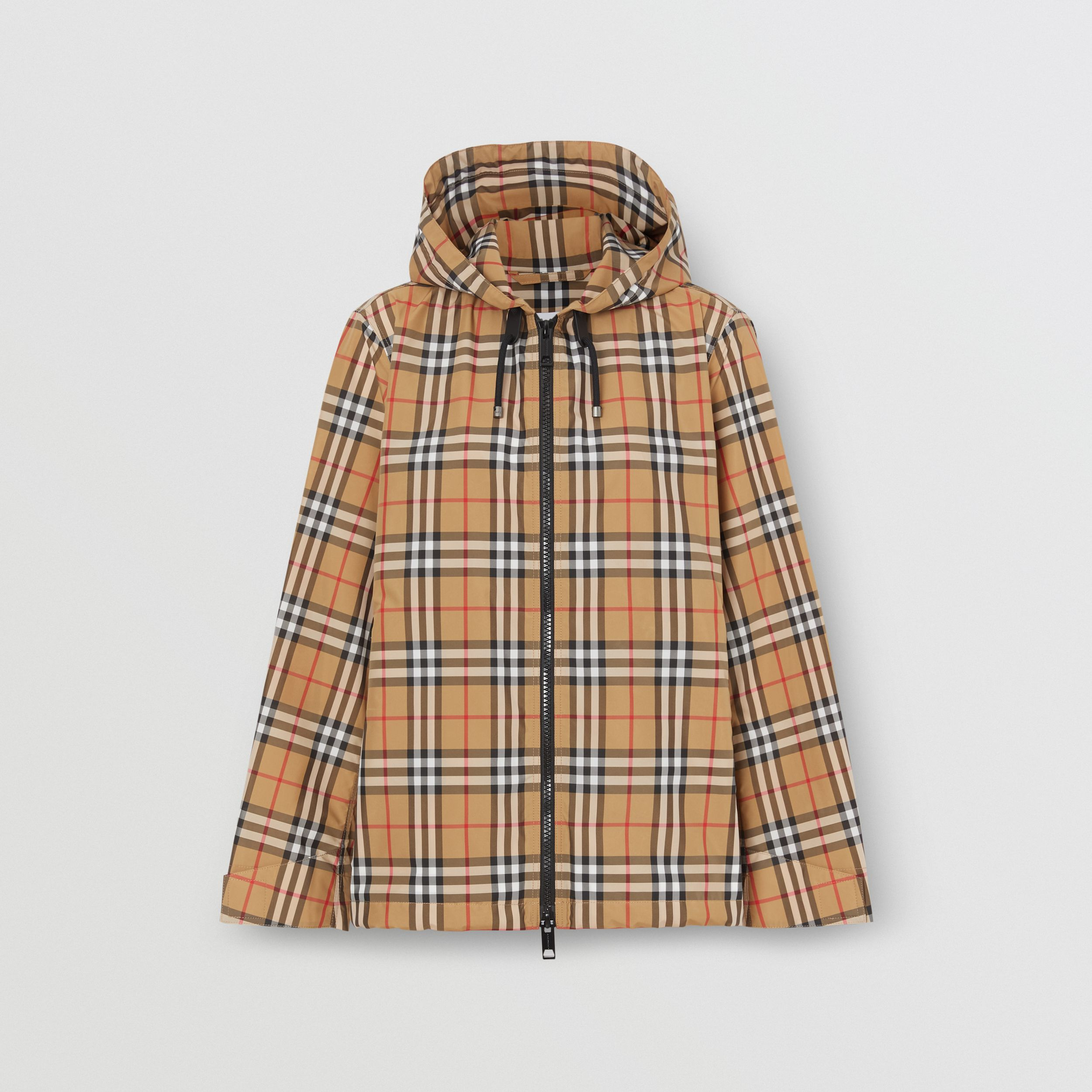 Vintage Check Lightweight Hooded Jacket in Antique Yellow - Women | Burberry - 4