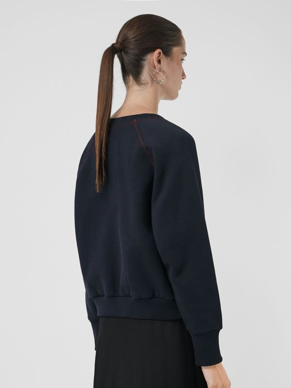 Embroidered Cotton Blend Jersey Sweatshirt in Navy - Women | Burberry - cell image 2