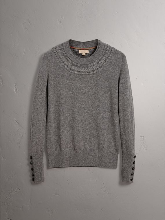 Cable Knit Yoke Cashmere Sweater in Mid Grey Melange - Women | Burberry Singapore - cell image 3