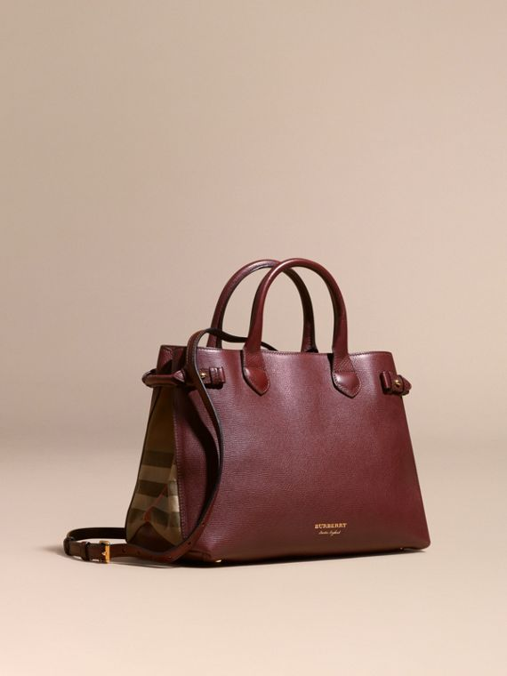The Medium Banner in Leather and House Check in Mahogany Red - Women | Burberry