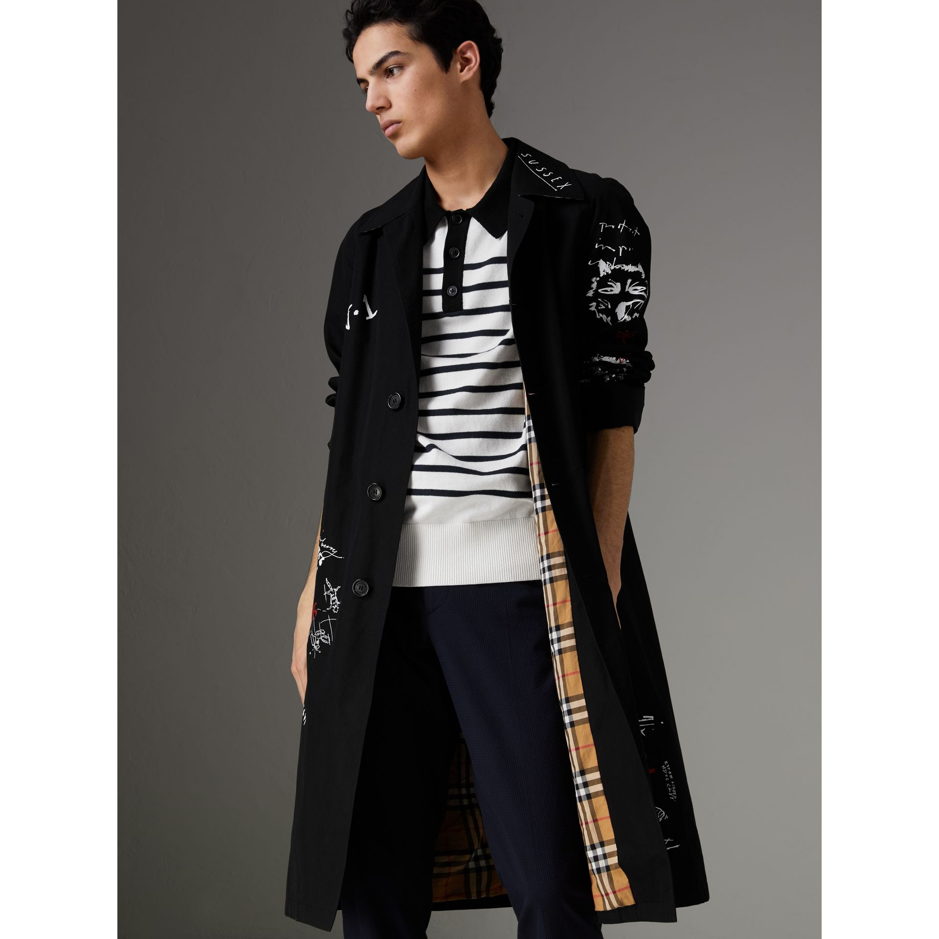 Sketch Print Car Coat in Black - Men | Burberry - gallery image 6