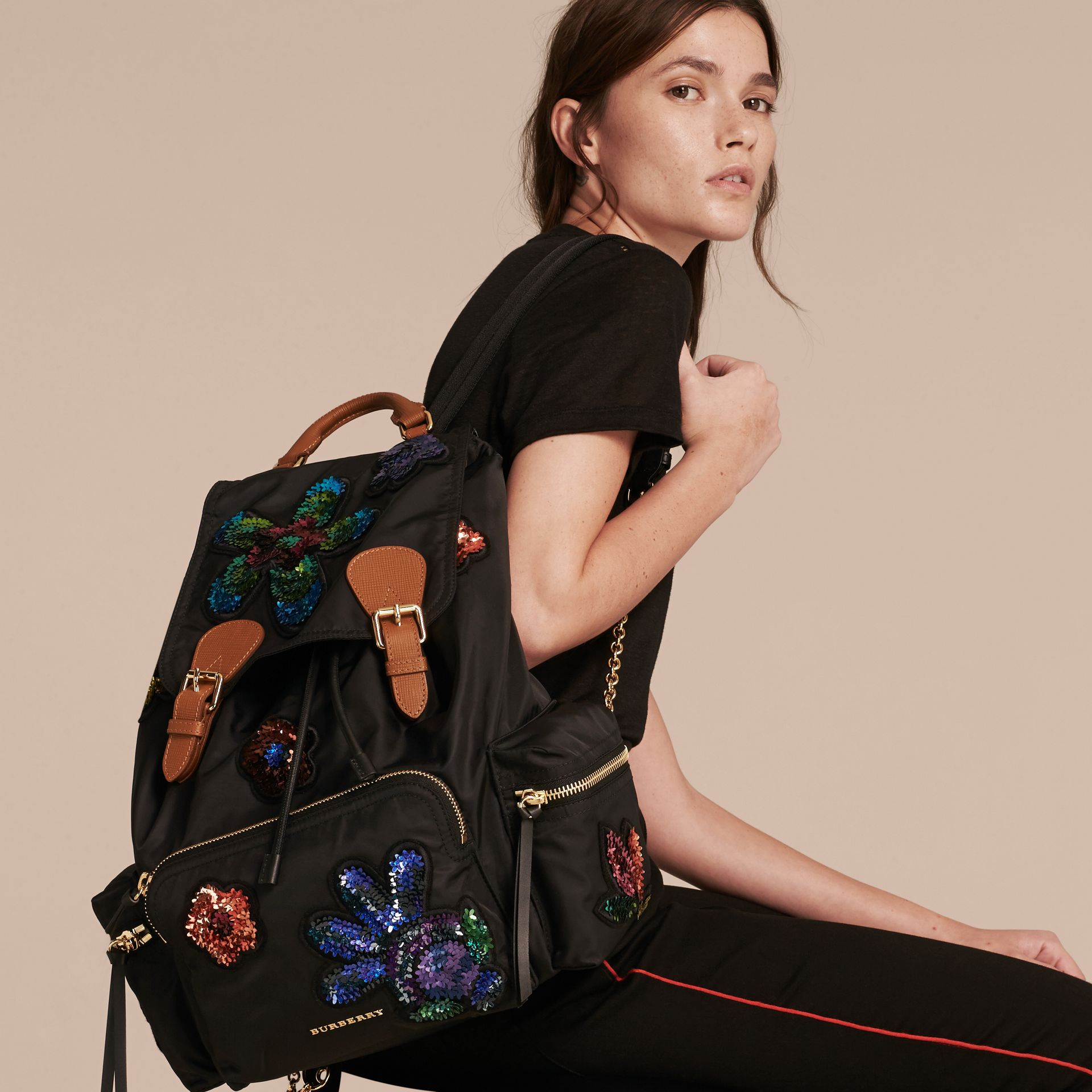 Black The Large Rucksack in Technical Nylon with Sequinned Flowers - gallery image 3