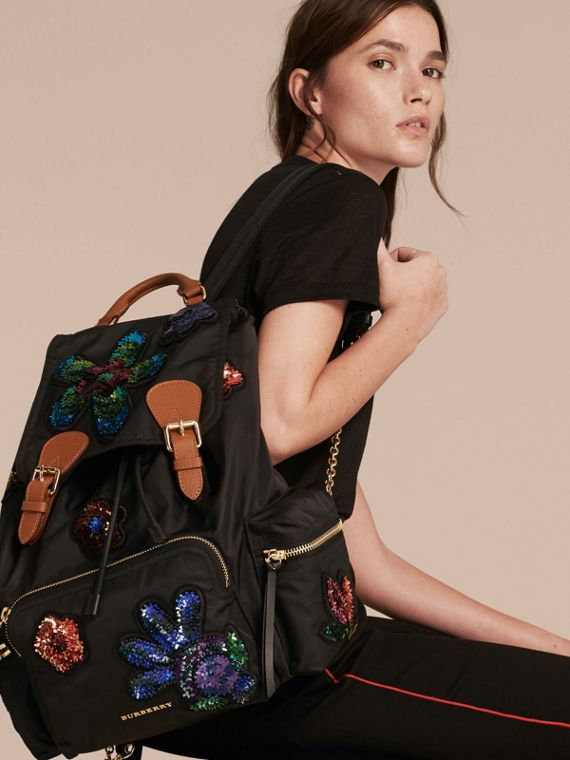 Black The Large Rucksack in Technical Nylon with Sequinned Flowers - cell image 2