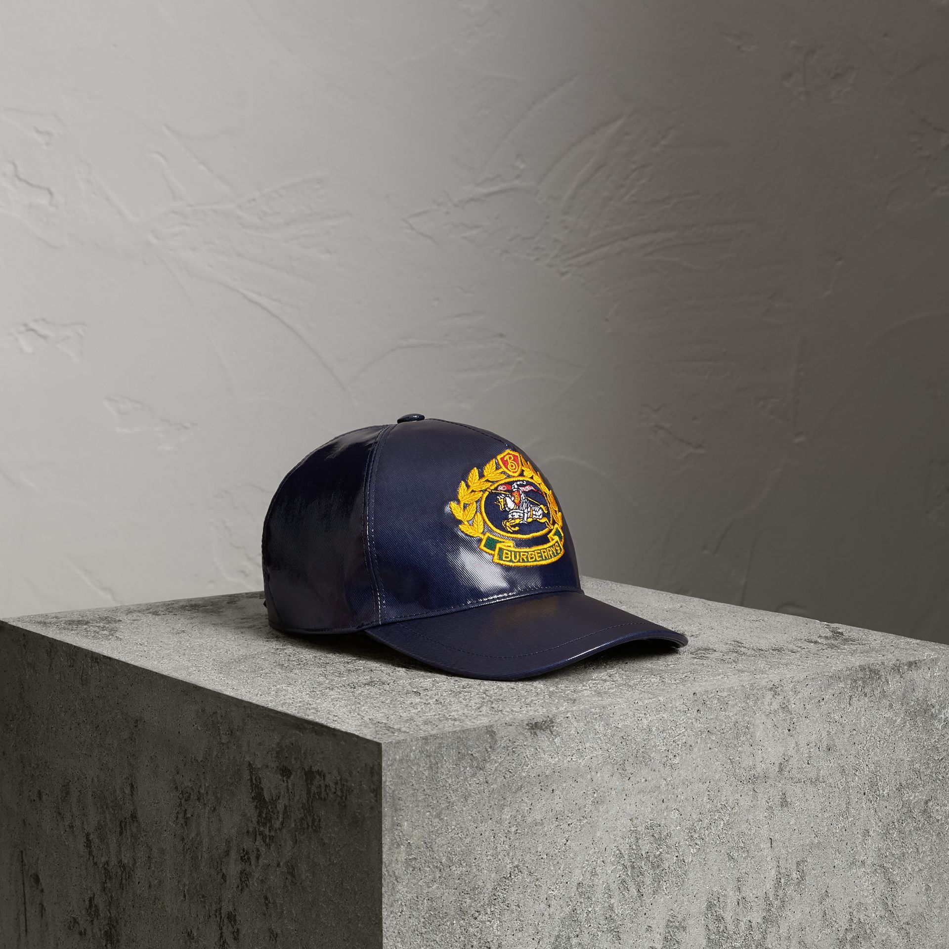 Archive Logo Coated Cotton Baseball Cap in Navy | Burberry Australia - gallery image 0