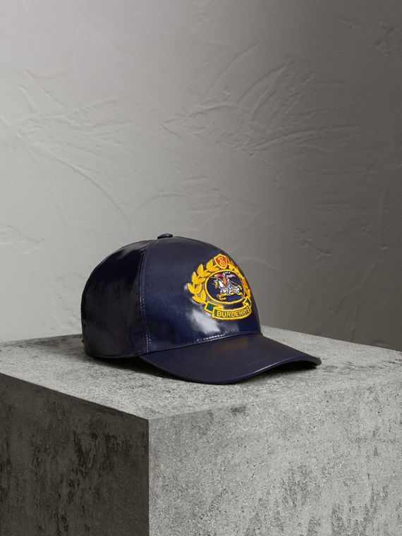 Archive Logo Coated Cotton Baseball Cap in Navy