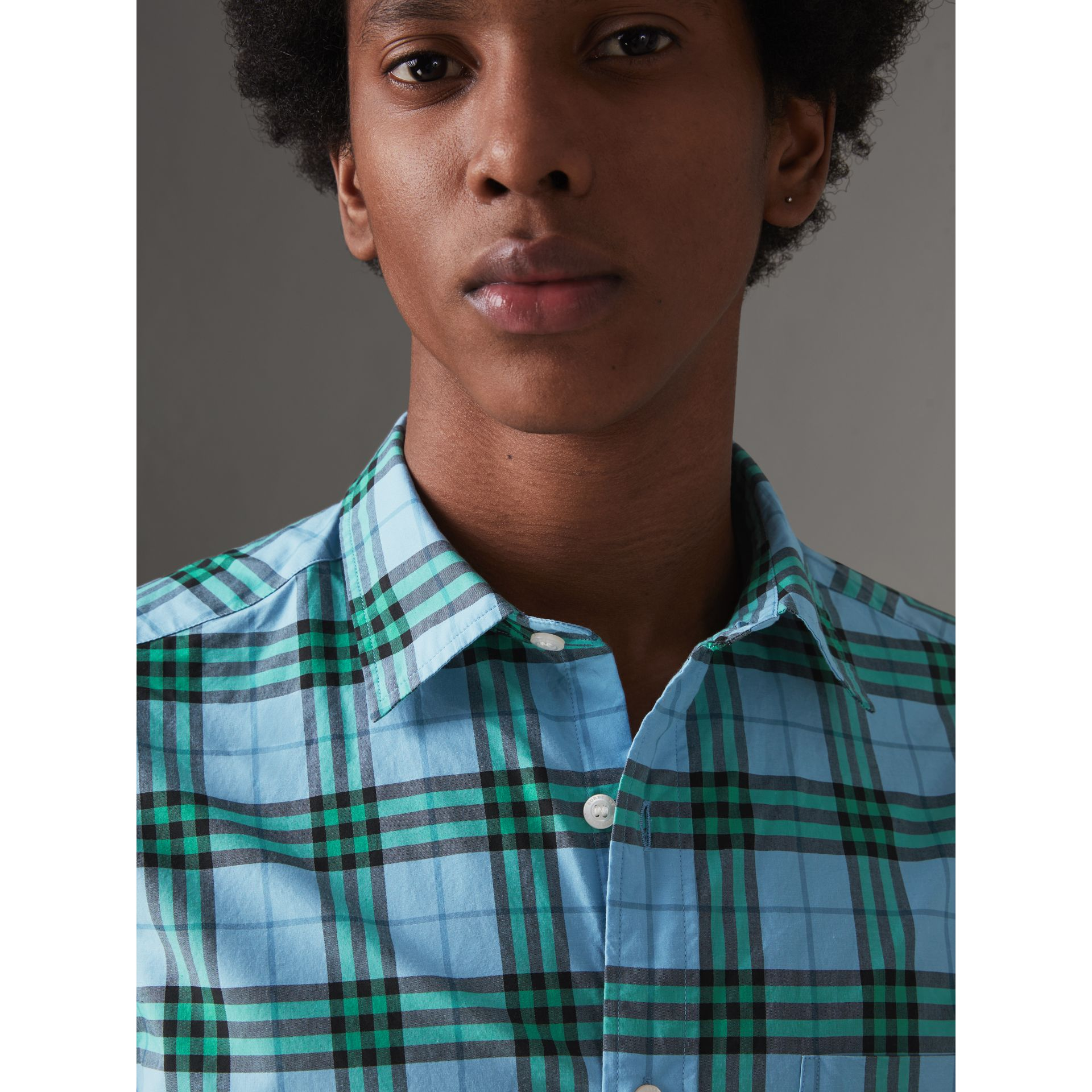 Check Cotton Shirt in Blue Topaz - Men | Burberry - gallery image 1
