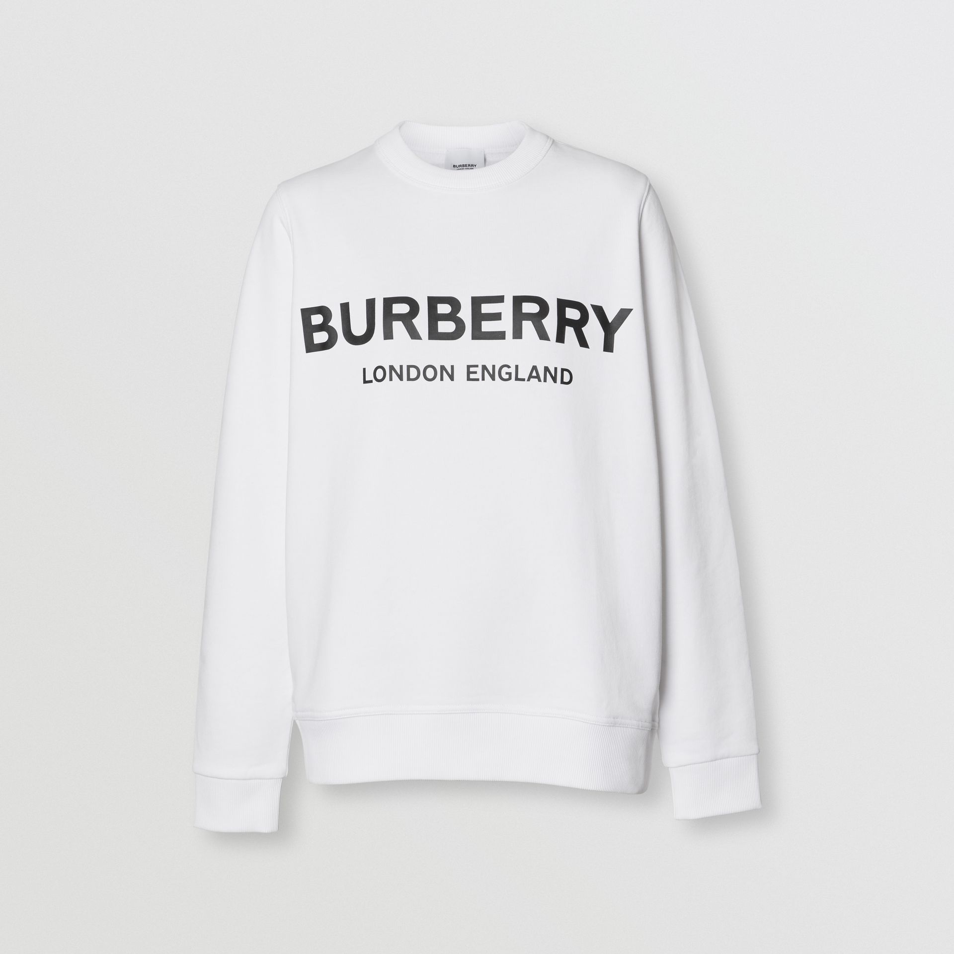 Logo Print Cotton Sweatshirt in White - Women | Burberry Australia - gallery image 3