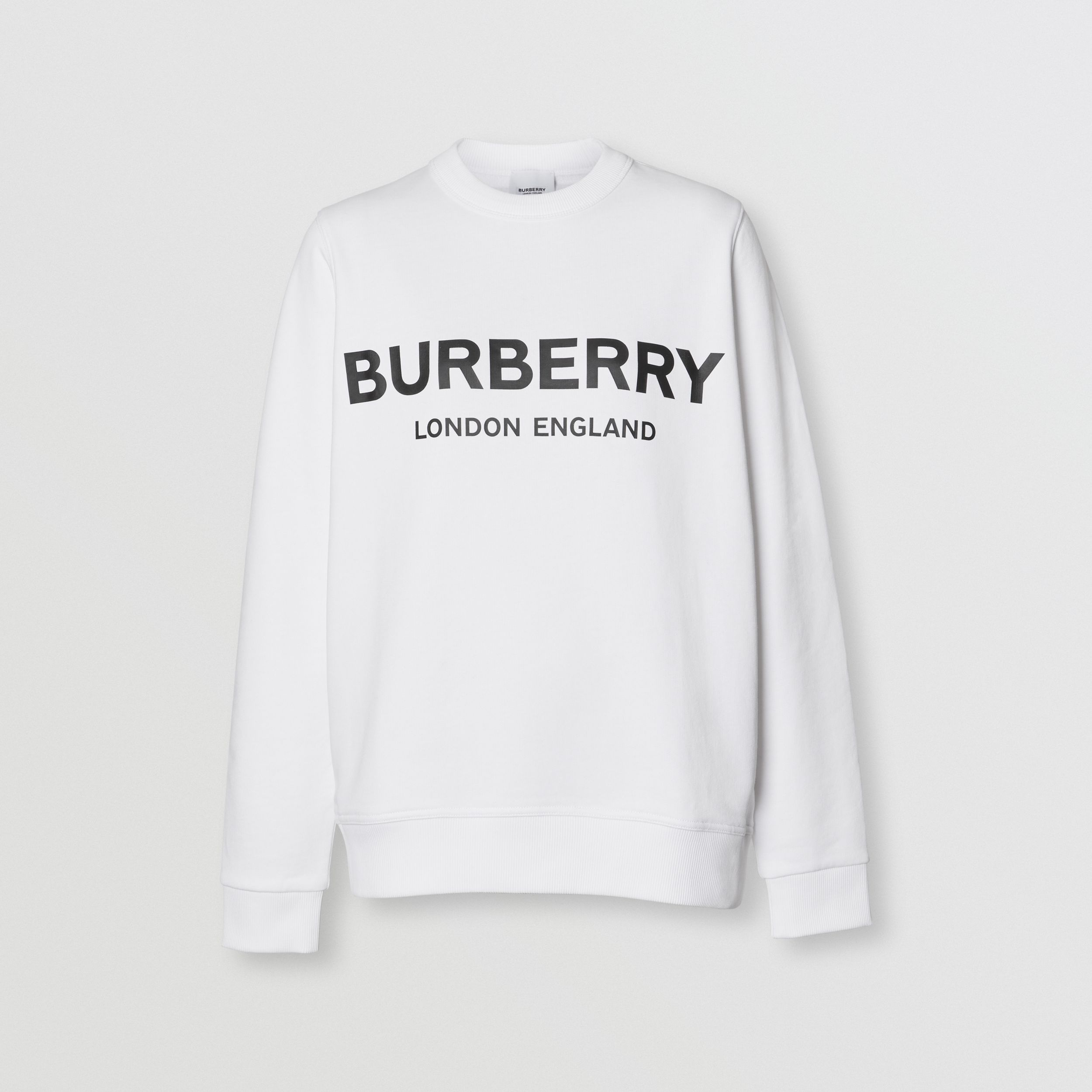 Logo Print Cotton Sweatshirt in White - Women | Burberry - 4