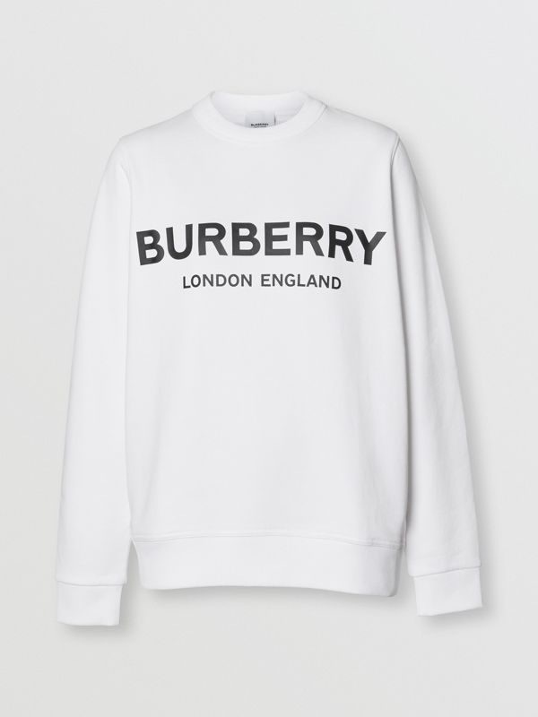 Logo Print Cotton Sweatshirt in White - Women | Burberry Australia - cell image 3