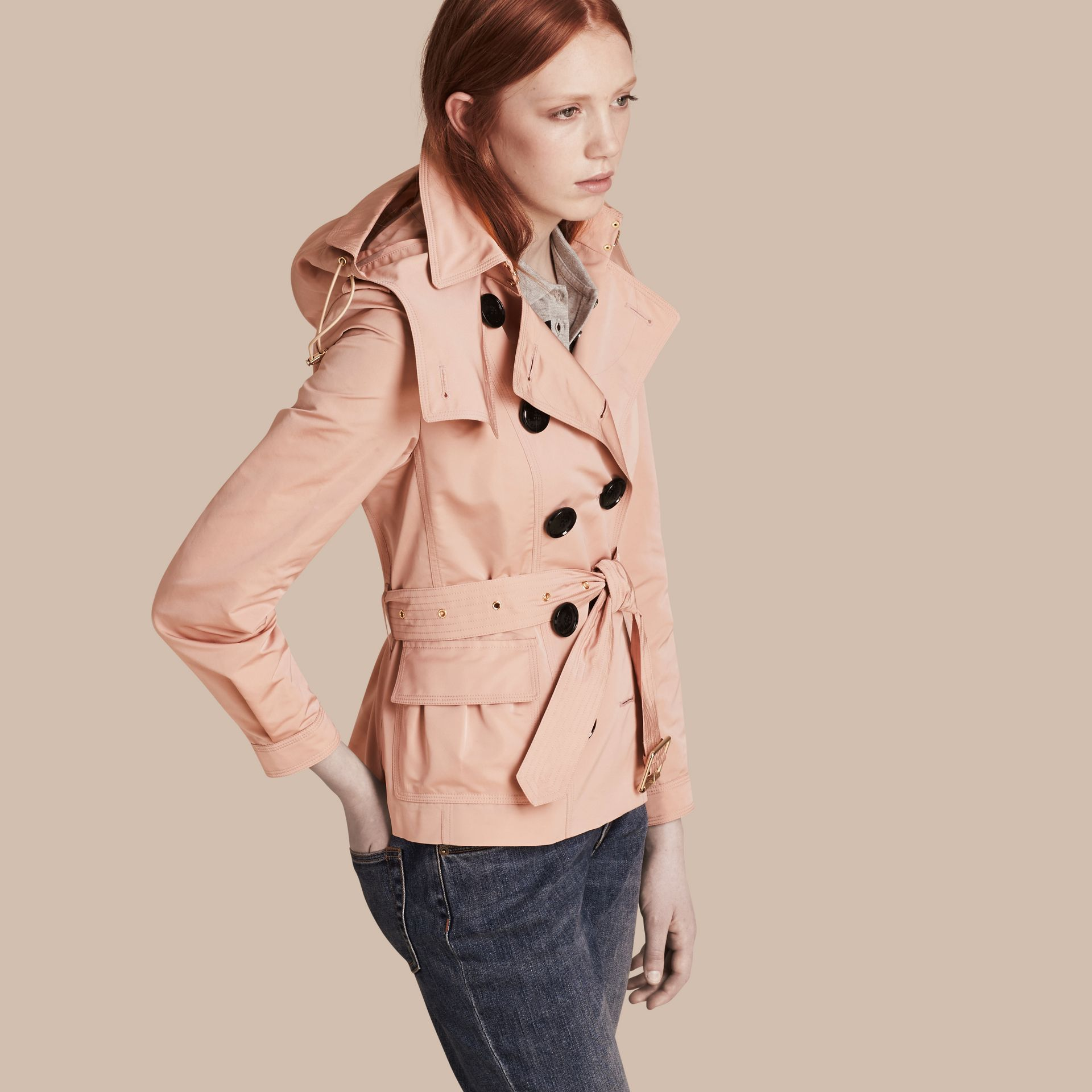 Chalk pink Showerproof Taffeta Trench Jacket with Detachable Hood Chalk Pink - gallery image 7