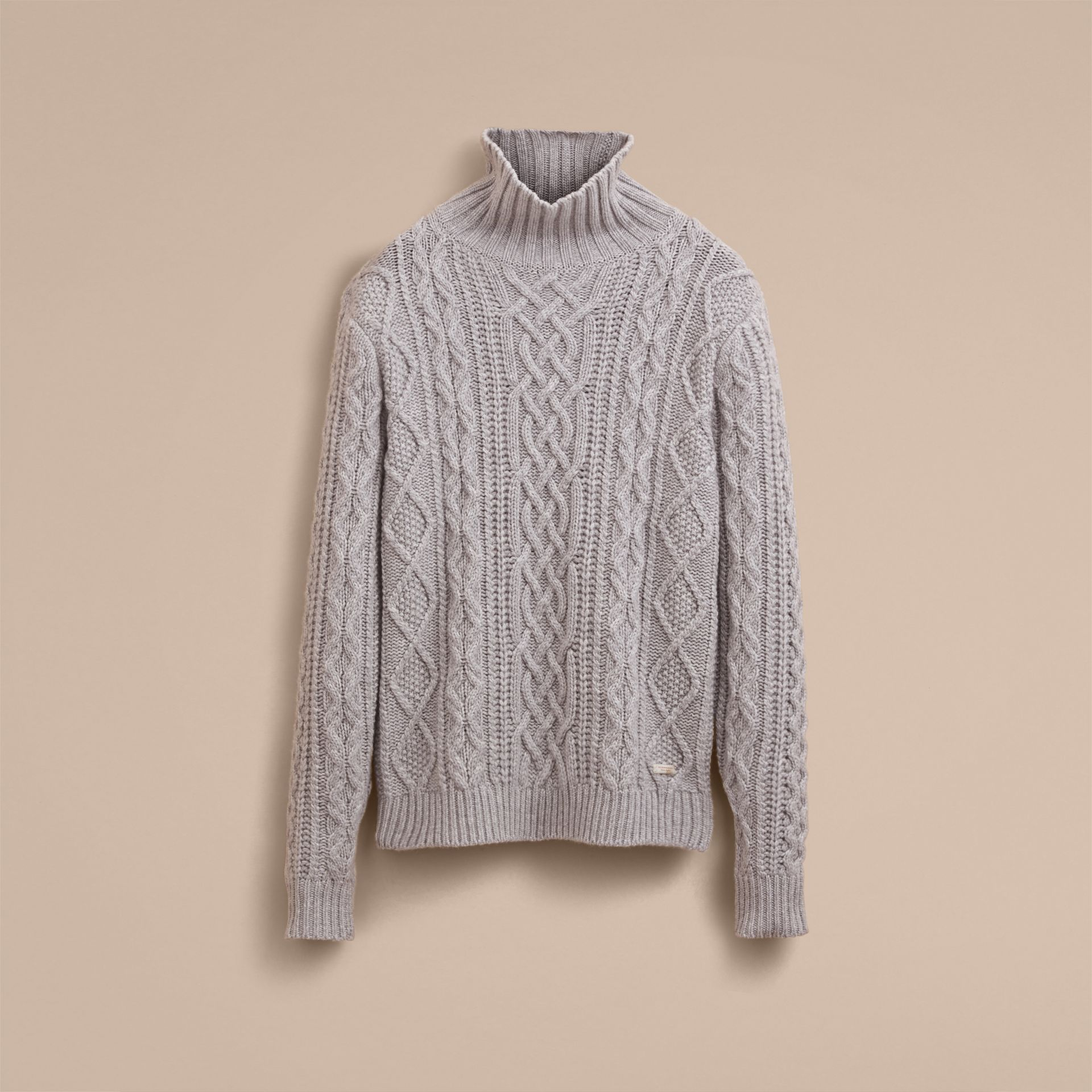 Funnel Neck Cashmere Cable Knit Sweater in Pale Grey Melange - Men | Burberry Singapore - gallery image 4