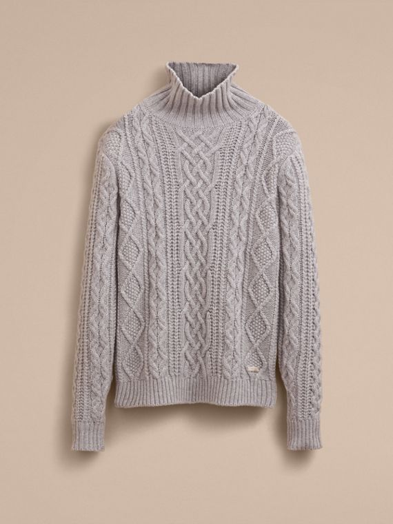 Funnel Neck Cashmere Cable Knit Sweater in Pale Grey Melange - Men | Burberry Singapore - cell image 3