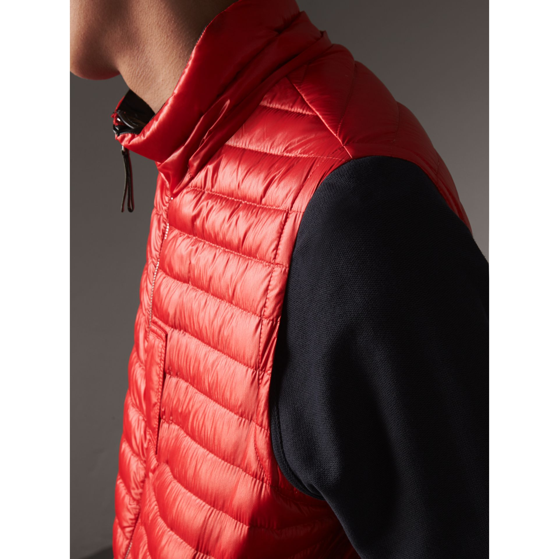 Detachable Hood Packaway Goose-down Gilet in Military Red - Men | Burberry - gallery image 5