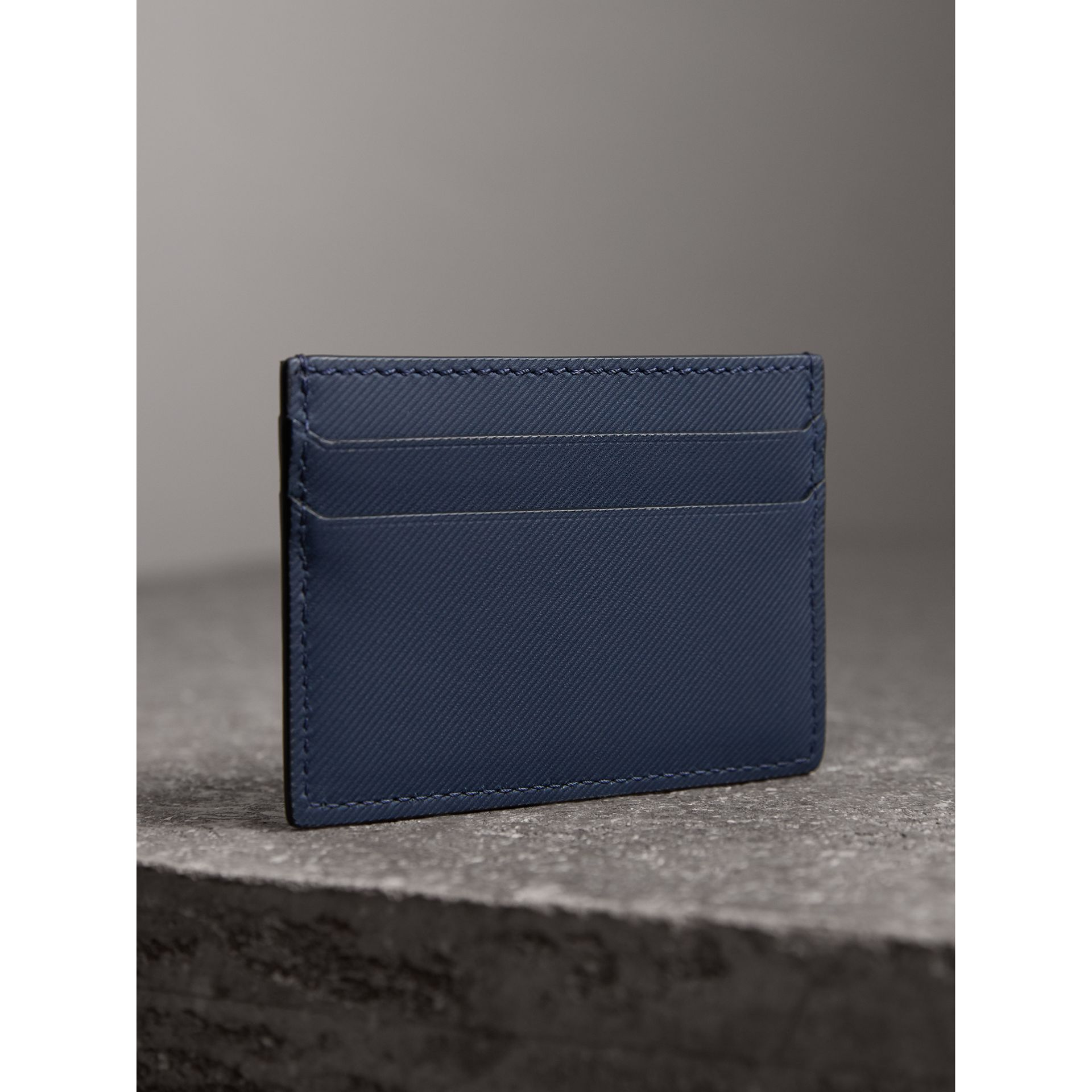 Trench Leather Card Case in Ink Blue - Men | Burberry - gallery image 2