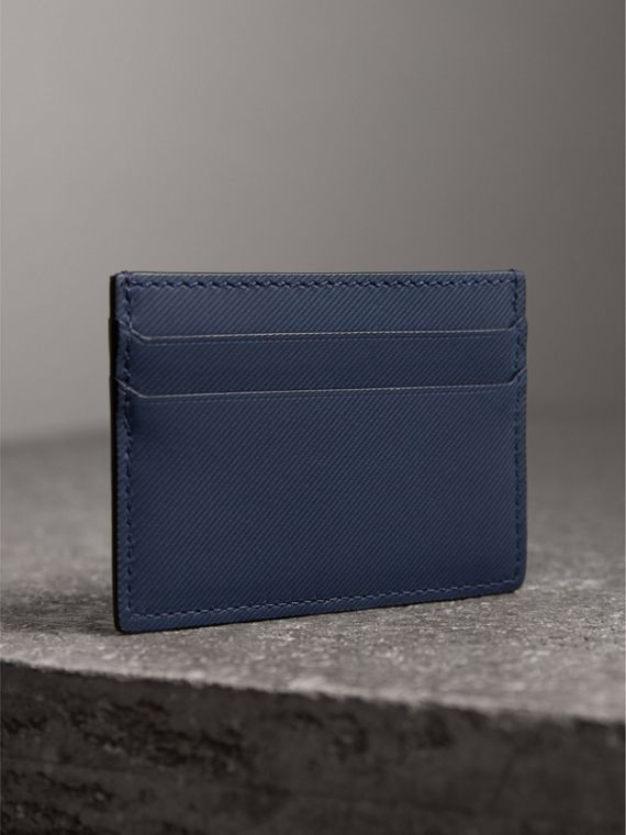 Trench Leather Card Case in Ink Blue - Men | Burberry - cell image 2
