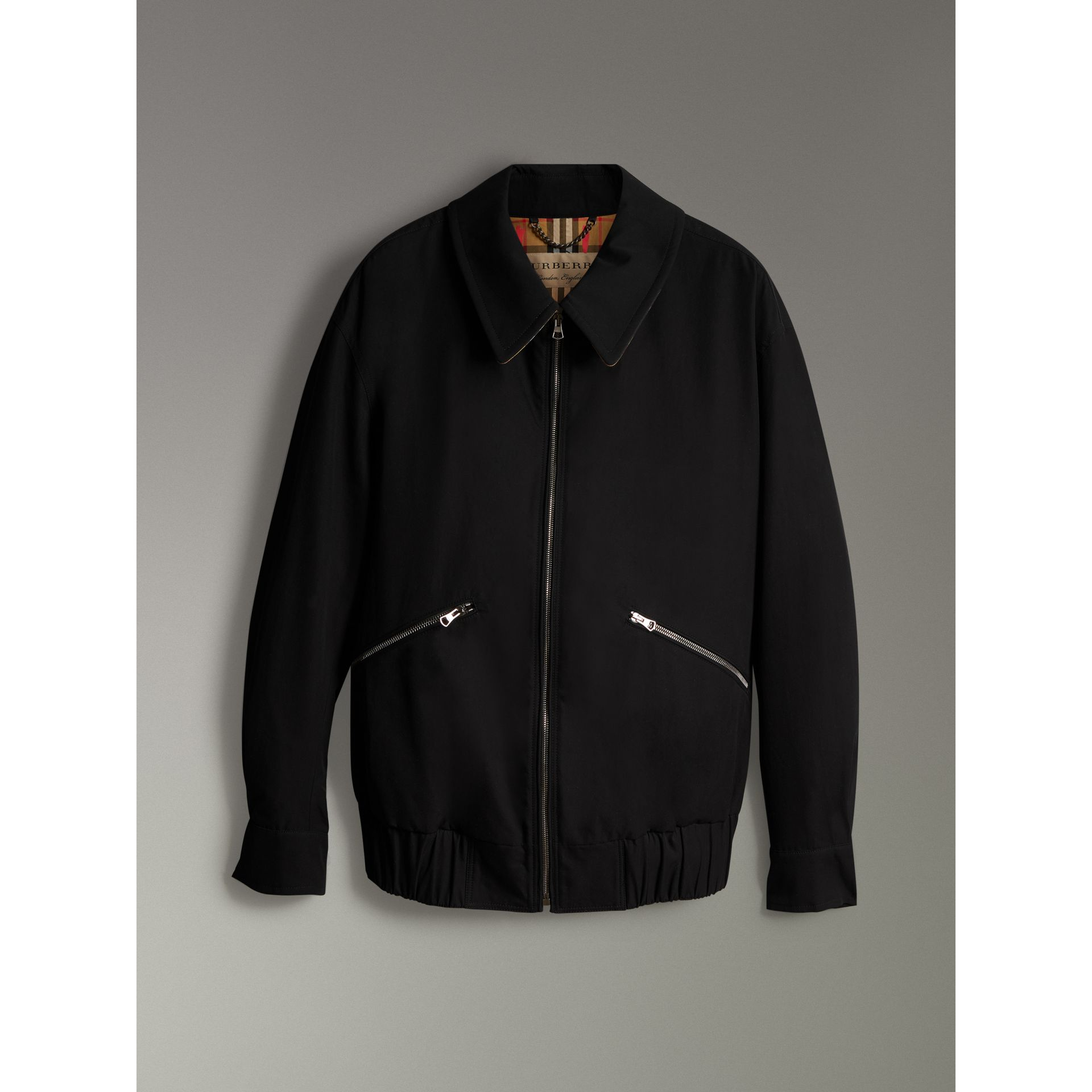 Tropical Gabardine Harrington Jacket in Black - Men | Burberry United Kingdom - gallery image 3